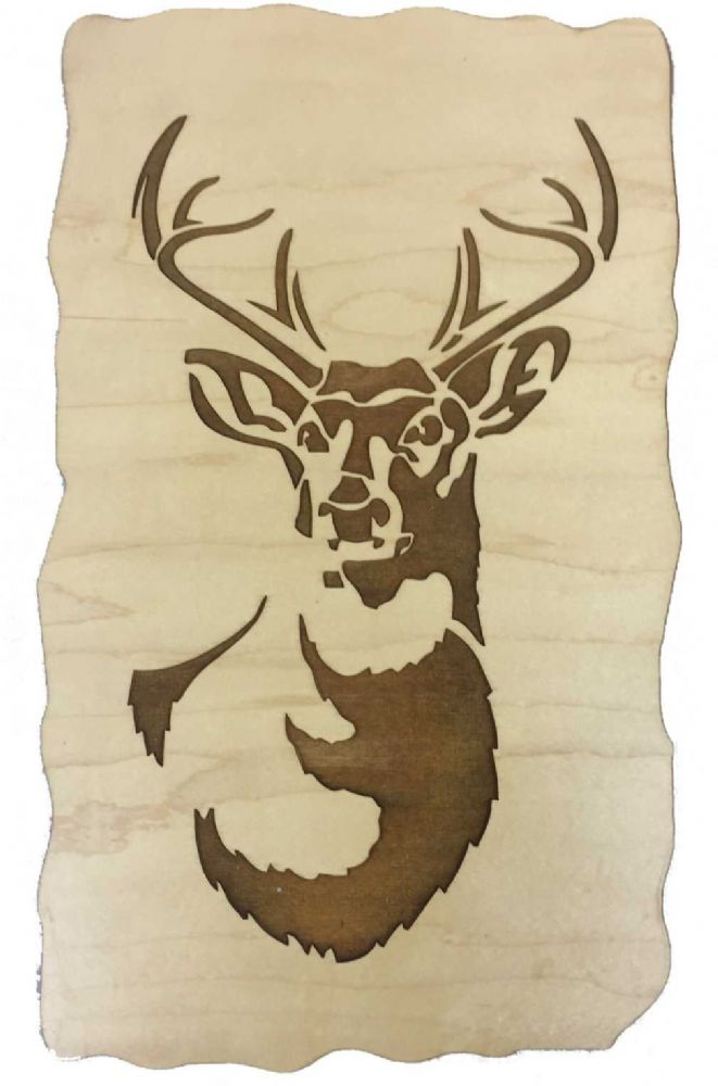 Stag Engraved Wooden Wall Art Plaque Choice Of Materials